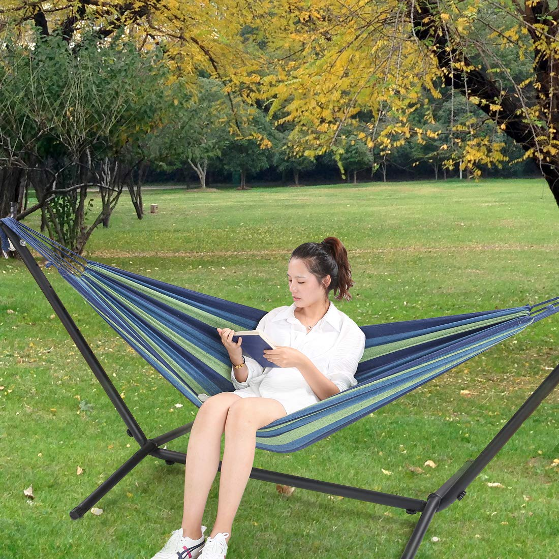 HONGJUN Double Hammock with Steel Stand - Space Saving 2 Person Adjustable and Portable Stand Hammocks,450 Pounds Capacity(Blue Stripe) by HONGJUN (Image #6)