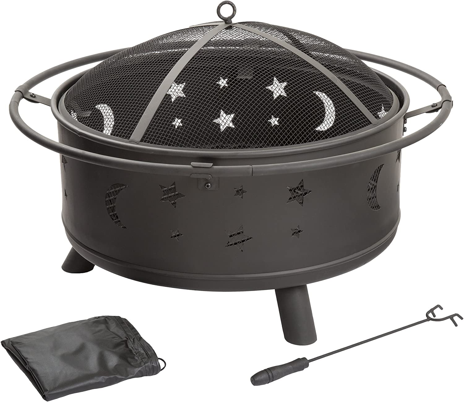 Fire Pit Set Wood Burning Pit Includes Screen Cover And Log Poker Great For Outdoor And Patio 30 Inch Round Star And Moon Firepit By Pure Garden Garden Outdoor
