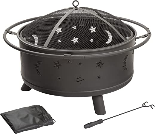 Amazon Com Fire Pit Set Wood Burning Pit Includes Screen Cover And Log Poker Great For Outdoor And Patio 30 Inch Round Star And Moon Firepit By Pure Garden Garden Outdoor