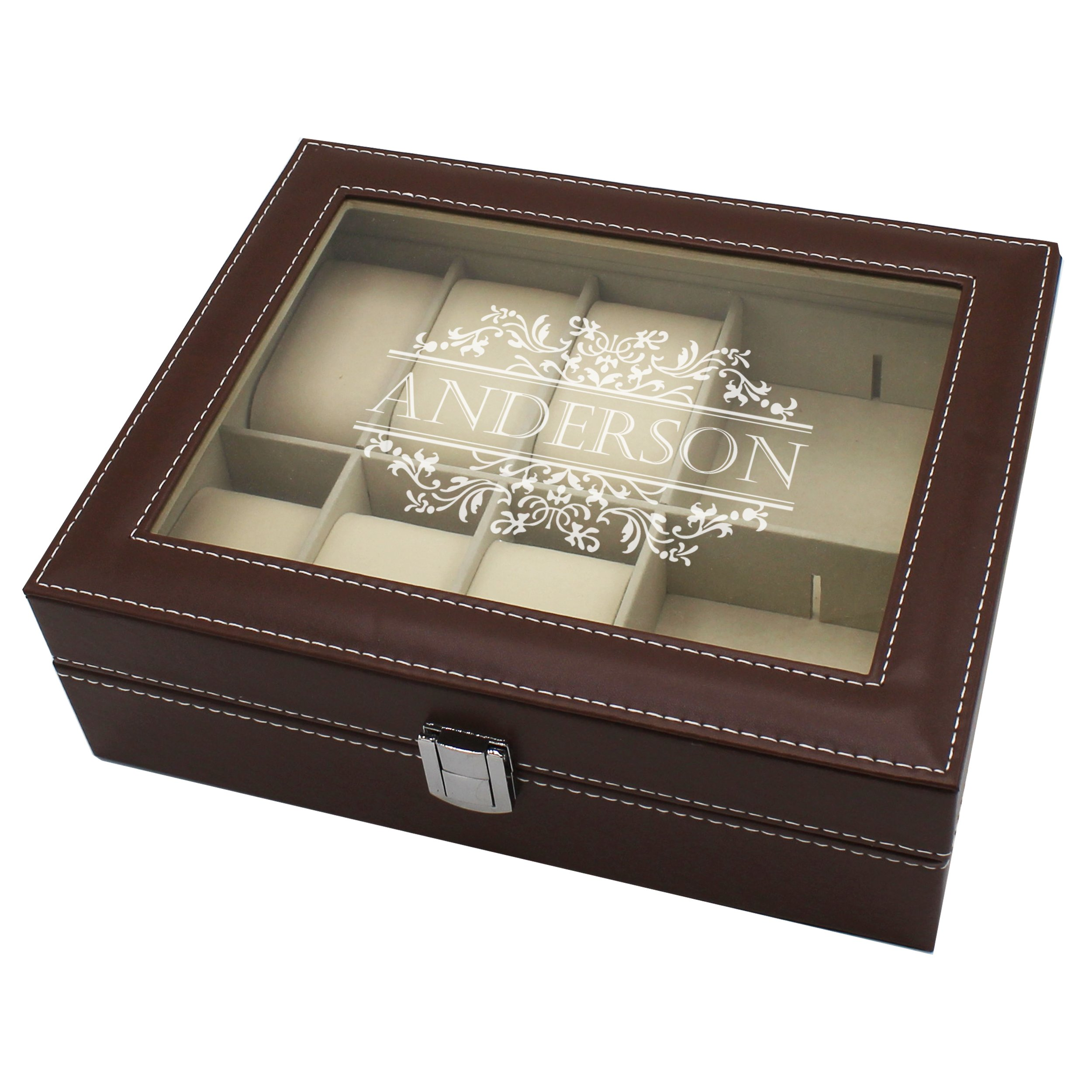 Engraved Jewelry Box Storage Holder Organizer - Custom Personalized Gifts for Her, Mom, Wife, Daughter (Brown)