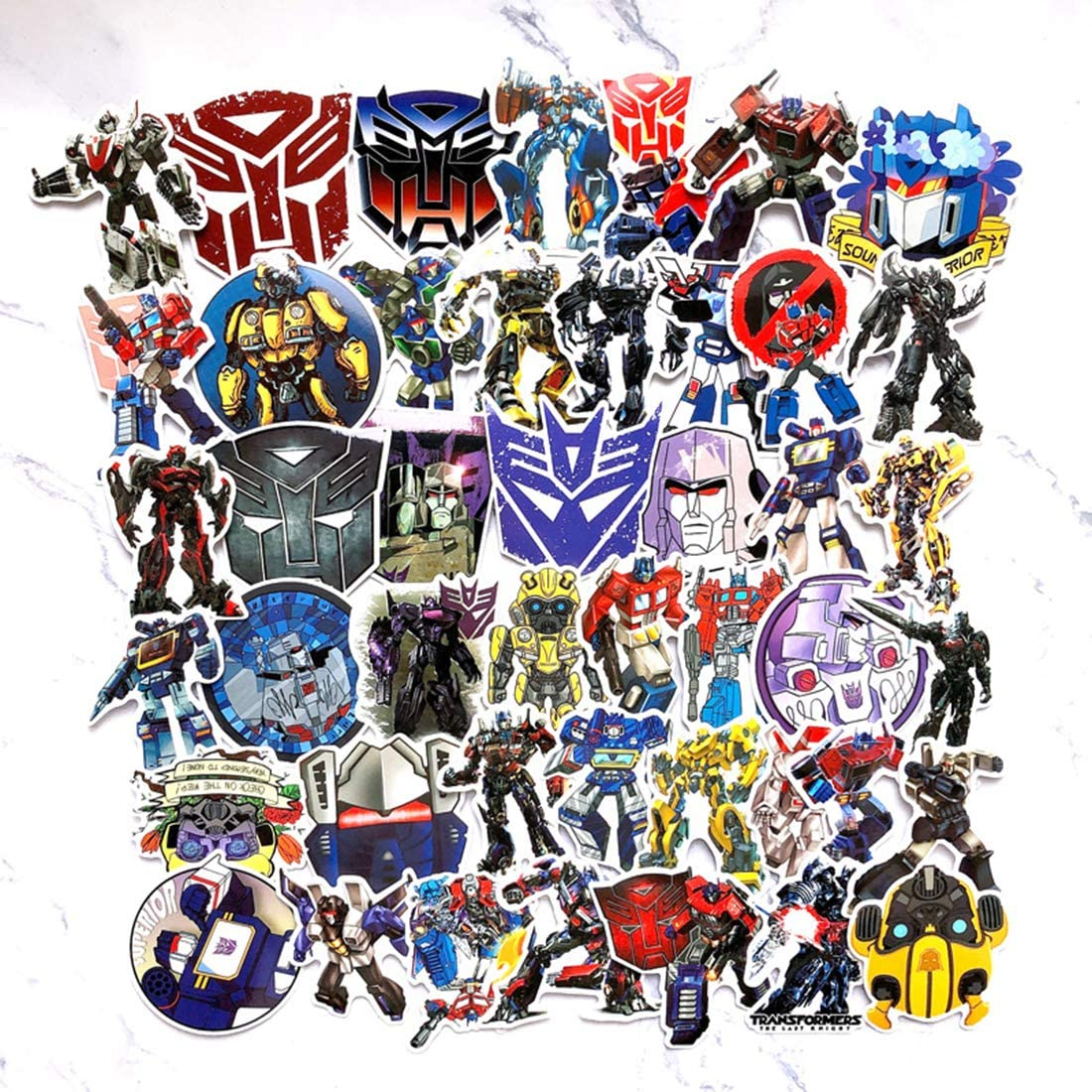 50Pcs Transformers Waterproof Stickers for Laptops Books Cars Motorcycles Skateboards Bicycles Suitcases Skis Luggage Hydro Flasks etc BWJ