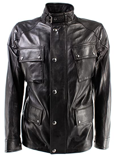 0f8cd60b Belstaff Men's Jacket 71050387 Woodbridge Jacket Man Black Leather New  Coll: Amazon.co.uk: Clothing