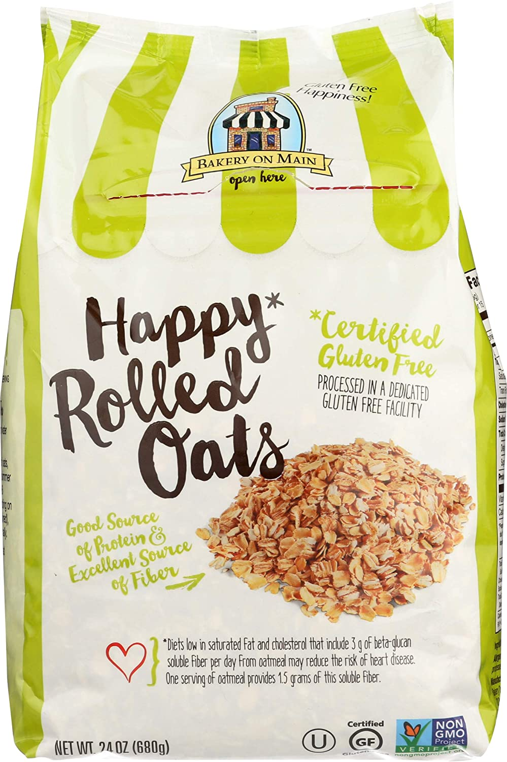 Bakery On Main Gluten-Free, Non-GMO Happy Oats, Rolled, 24 Ounce (Pack of 4)