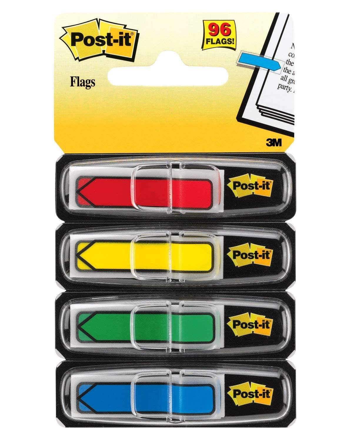 Limited Edition Wide Arrow Flags Post-it. 684-ARR3 Assorted Primary Colors.47 in 4 Dispensers//Pack, 24//Dispenser