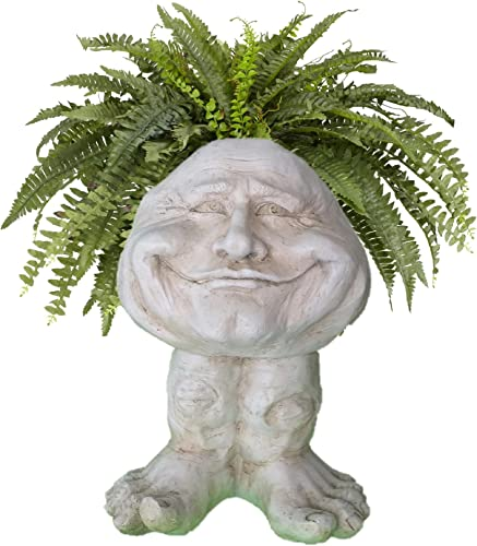 Homestyles 18 in. Antique White Papa John The Muggly Statue Face Planter Holds a 7″ Pot