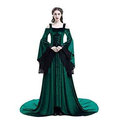 69ad6e8d5826 D-RoseBlooming Green Renaissance Medieval Vintage Victorian Ball Gown Party  Dress (X-Small