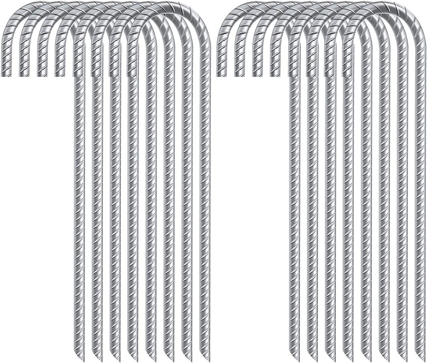 FEED GARDEN 12 Inch Galvanized Rebar Stakes Heavy Duty J Hook,Ground Stakes Tent Stakes Steel Ground Anchors,16 Pack,Silver