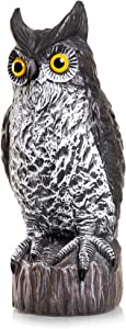 Bird Blinder Owl Decoy - Natural Enemy Scarecrow (Large) Fake Owl to Keep Birds Away - Owl Decor to Protect Gardens from Wildlife - for Outdoors or Indoors
