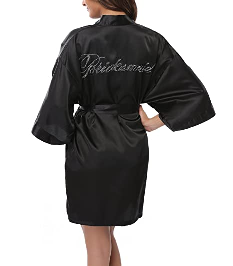 WitBuy Women s Short Satin Kimono Robe Pure Nightgown Wedding Bridesmaid  Gift Black XS 7fda4b62c