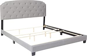 DG Casa Wembley Upholstered Panel Bed Frame with Diamond Tufted and Nailhead Trim Headboard, King Size in Grey Polyester Blend Fabric