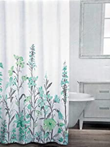 Caro Fabric Shower Curtain Floral Pattern in Shades of Aqua Blue Green and Gray on White - Field of Flowers, Aqua