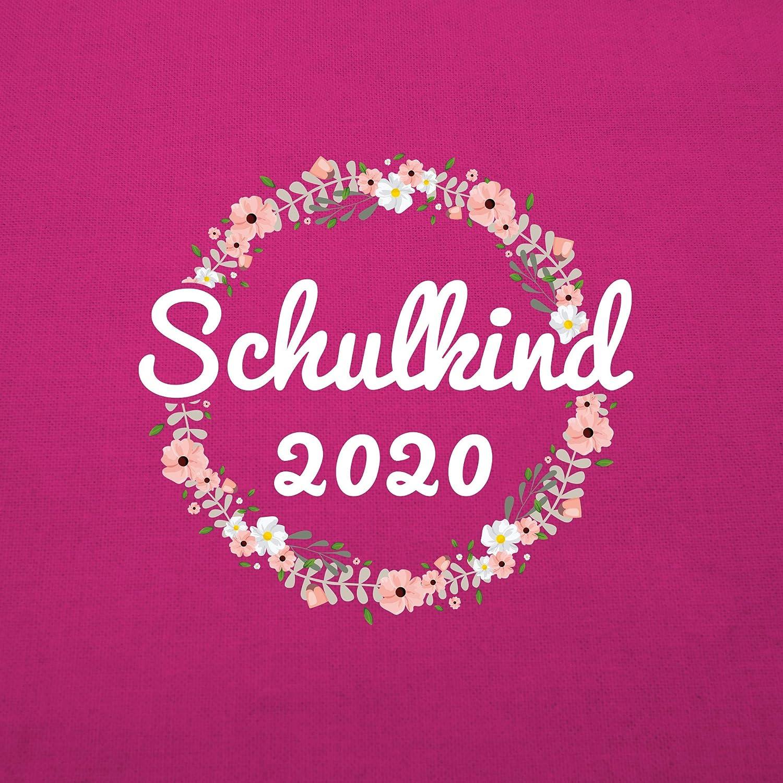 Turnbeutel und Stoffbeutel aus Baumwolle Shirtracer Einschulung und Schulanfang Schulkind 2020 Blumenkranz