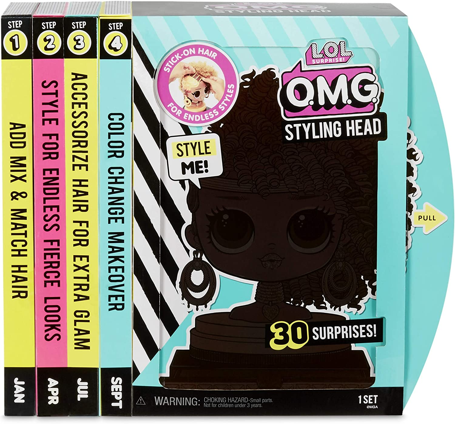 566229E7C Styling Head with for Endless L.O.L /Überraschung O.M.G Stylingkopf Royal Bee mit Stick-On Hair f/ür endlose Styles Surprise L.O.L Multi
