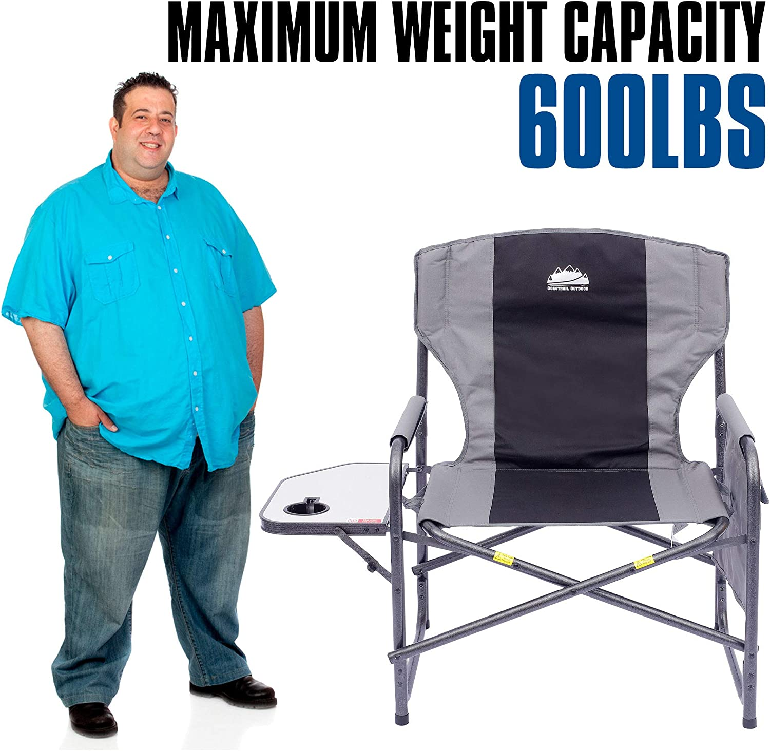 Heavy Duty for Camping XXL Full Back Padded Camp Chair with Table /& Storage Coastrail Outdoor Oversized Director Chair 600lbs Lawn Patio 28 Wide