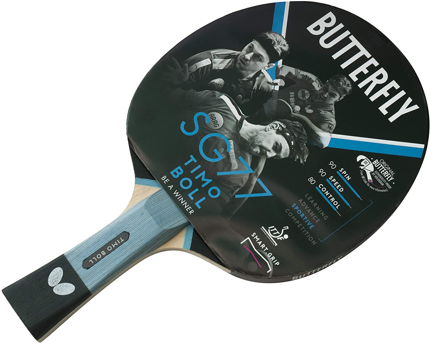 Butterfly SG77 Ping-Pong, Unisex Adulto, Negro/Rojo, tamaño único