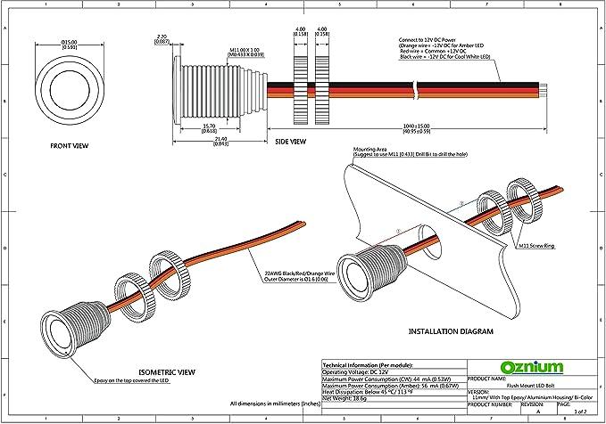 amazon com: bi-color amber/white led light bolt - flush mount 12v light for  bumper, grille, motorcycle w/sleek black aluminum housing & screw nut,
