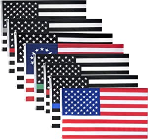 COOME 8 Pieces American US Flag 3x5 Feet Combo Pack, Thin Red Blue Gray Green Line Flag, Betsy Ross Flag - Grommets - Indoor/Outdoor - Vibrant Color and UV Fade Resistant - Quality Printed Polyester