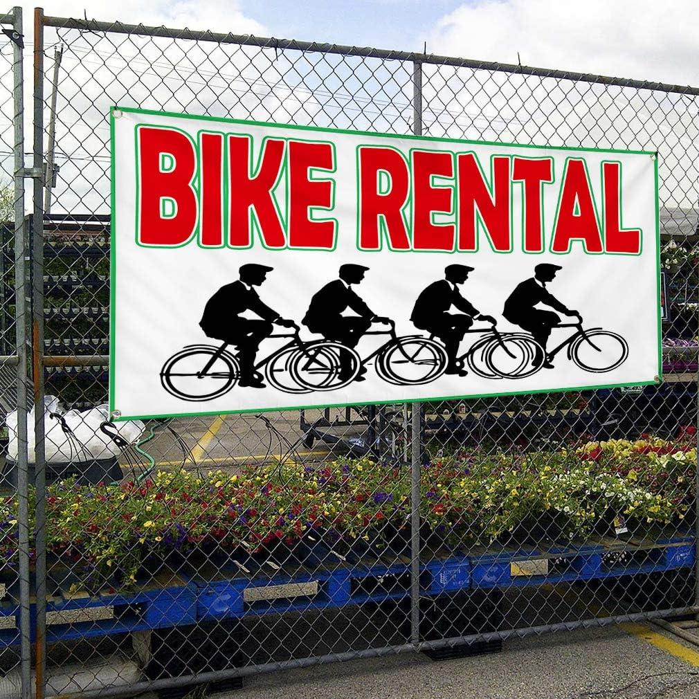 Multiple Sizes Available One Banner 44inx110in Vinyl Banner Sign Bike Rental White Black Red Business Marketing Advertising White 8 Grommets