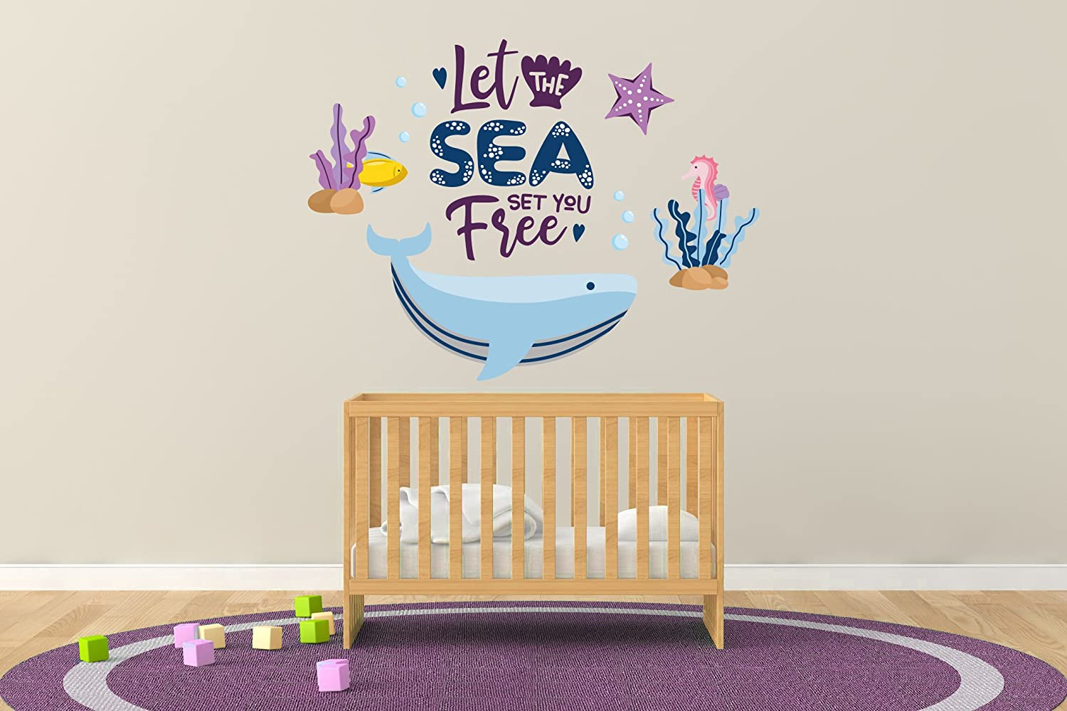 e-graphicデザインInc Wide Let The Sea Set You B07DLB3CFK Free Height – Baby Boy/Girl – 保育園壁デカールfor Baby Rom Decorations – 壁画壁デカールステッカー用ホーム子供の寝室(r115 ) Wide 22