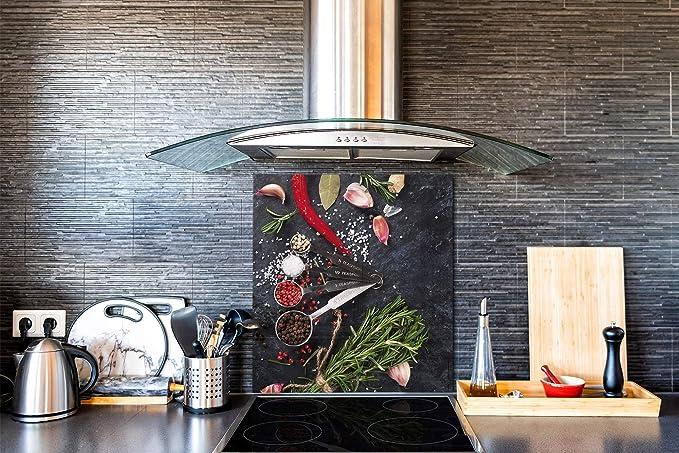 Kitchen Glass Splashback 100x70 Mortar and herbs