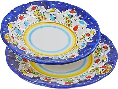 Piatti In Ceramica Prezzi.La Vietrese Set 2 Piatti Piano E Fondo In Ceramica Decoro Casette Di Vietri Blu Amazon It Casa E Cucina