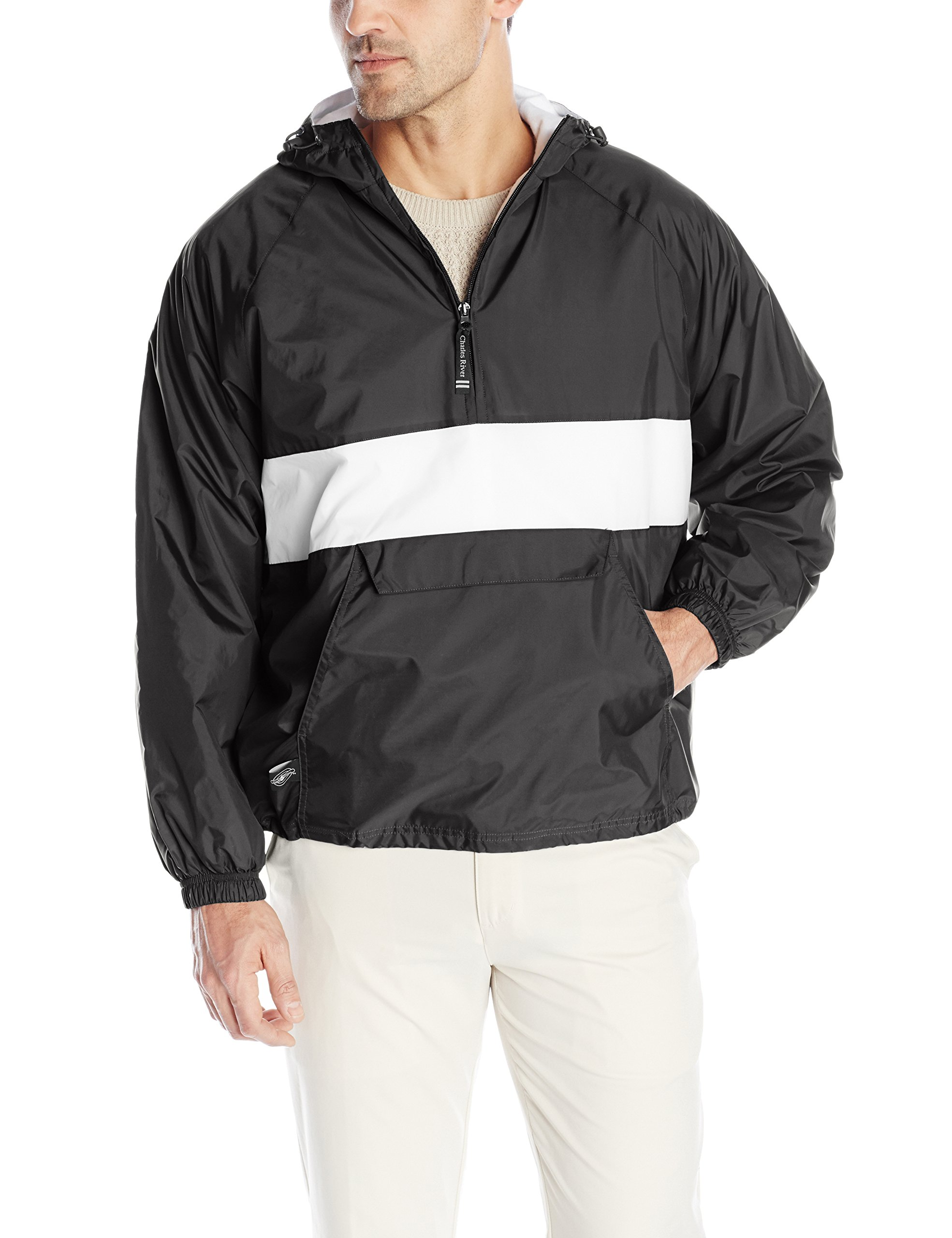 Charles River Apparel Men's Classic Striped Pullover Jacket, Black/White, Medium