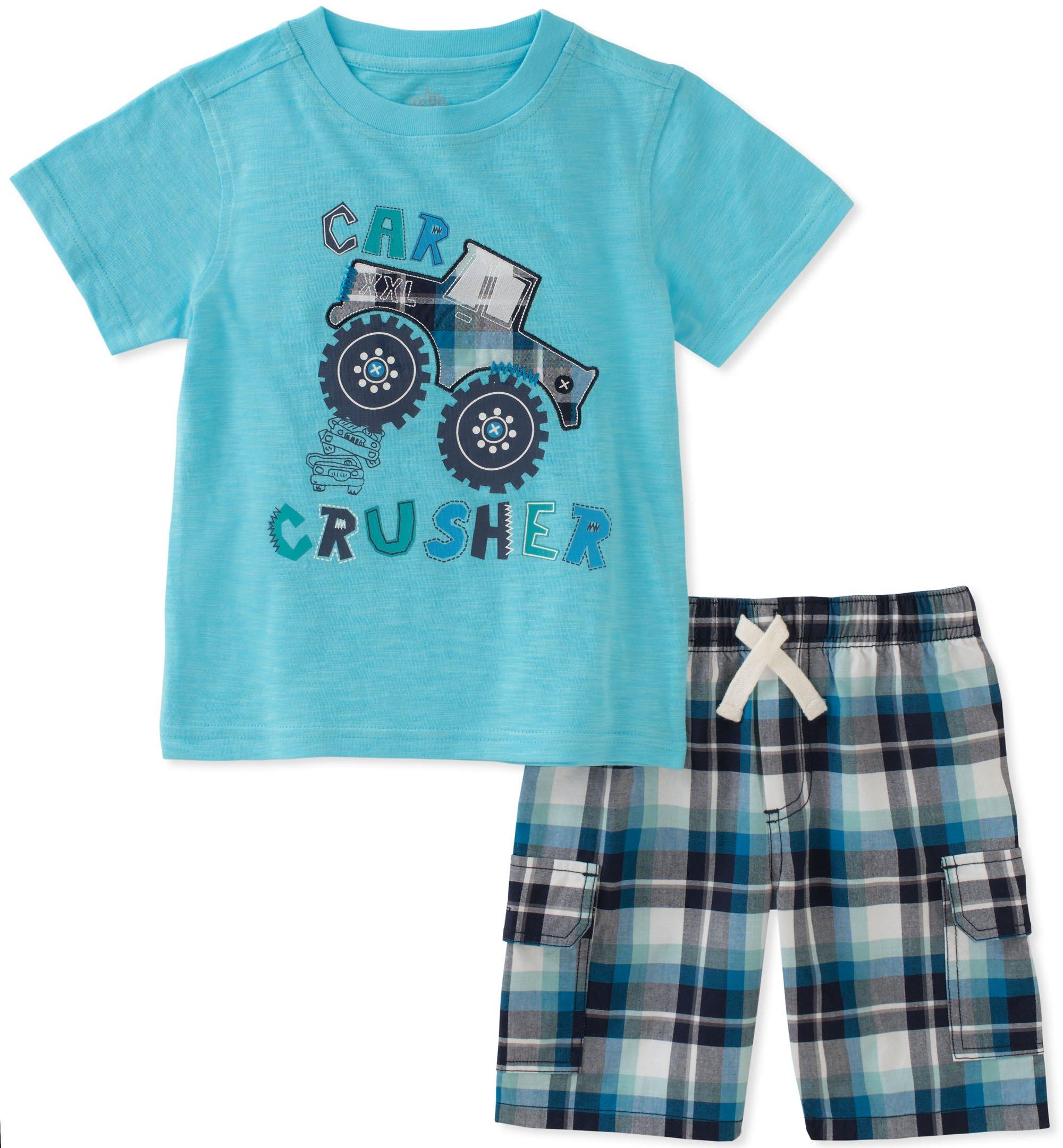 Kids Headquarters Boys' Toddler 2 Pieces Short Set, Blue/Green/Gray, 3T
