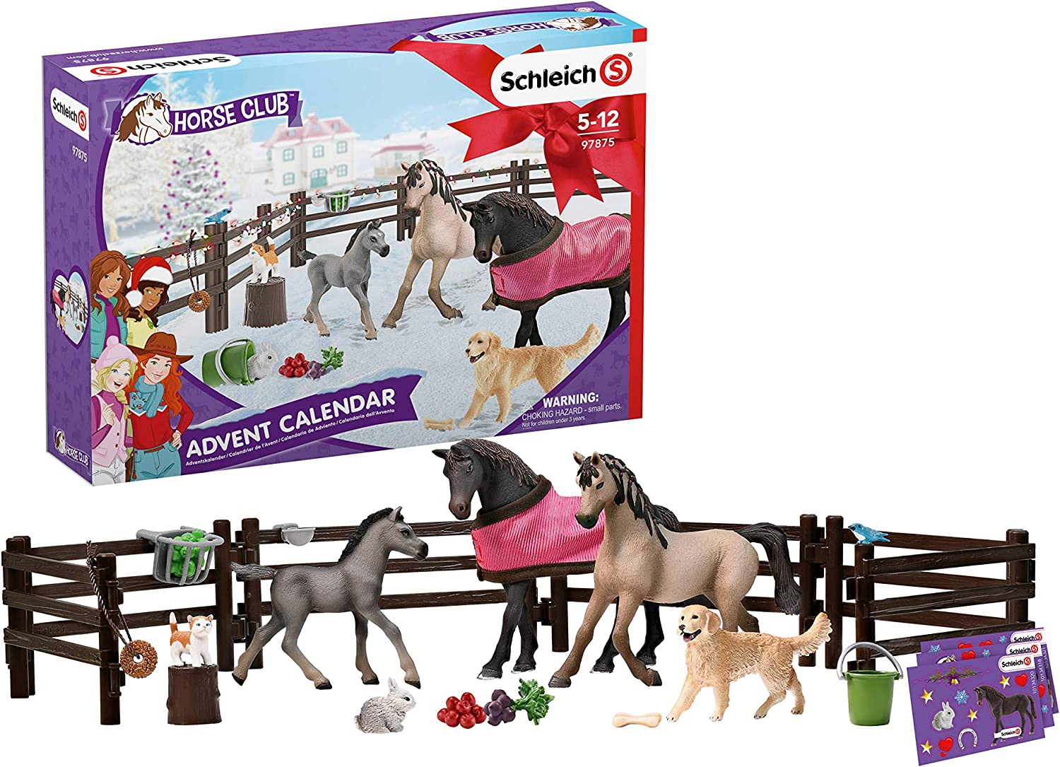 Schleich- Calendario de Adviento 2019, Colección Horse Club, Color lila (97875)