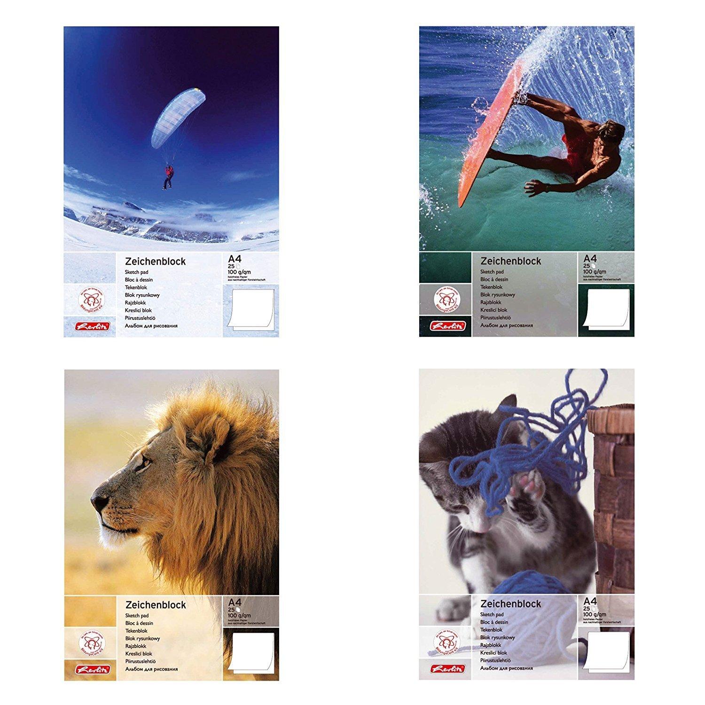 Herlitz Zeichenblock A4, holzfreies Papier, 100 g/m², 25 Blatt, weiß 100 g/m² weiß Herlitz Group 495408