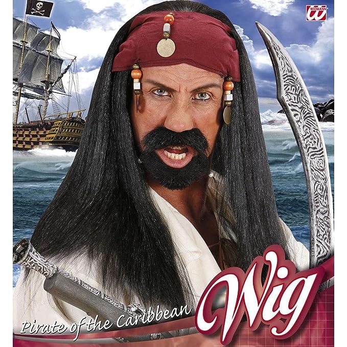 Jack Sparrow peluca pirata peluca con Bandana y perlas Piratas Fasching peluca Mar Ladrones pelo negro peluca de pelo largo Zigeuner pirata Señor peluca ...