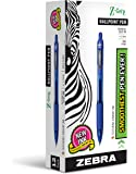 ZEBRA PEN 22220 Zebra Z-Grip Retractable Ballpoint Pen, Medium Point, 1.0 mm, Clear Barrel, Blue Ink, 12-Count