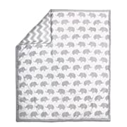 Grey Elephant Print and Chevron 100% Cotton Baby Crib Quilt by The Peanut Shell