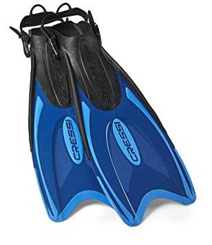 Cressi Italian Made Palau Long Fin Adjustable Flippers for Scuba and Snorkeling with Snorkeling Gear Mesh Bag