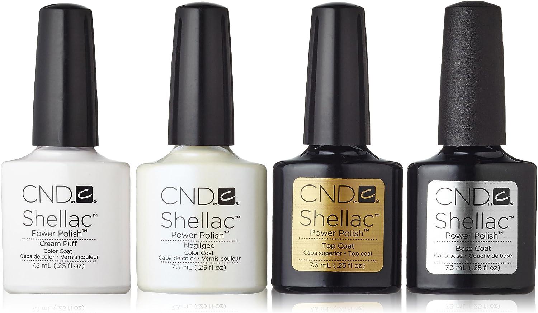 CND Shellac Cream Puff + Negligee + Top Coat + Base Coat 7.3 ml, 1er Pack (1 x 29 ml