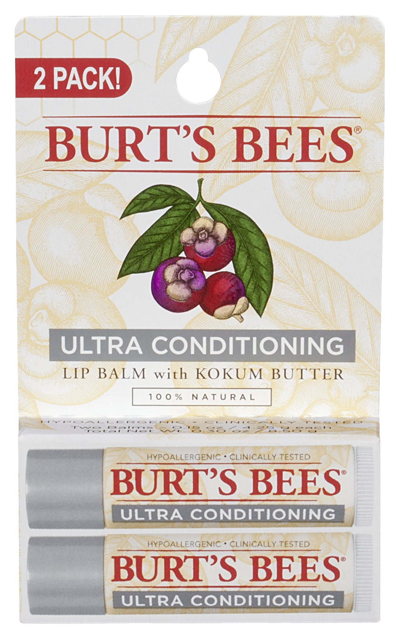 Burt's Bees 100% Natural Moisturizing Lip Balm, Ultra Conditioning with Kokum Butter, 2 Tubes in Blister Box