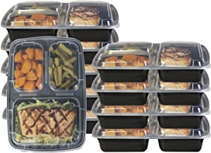 Dealberry Meal Prep Containers Reusable Compartment Plastic Food Storage with Lids Stackable Microwavable Freezer Dishwasher Safe Bento Lunch Box Set (3 Compartment)