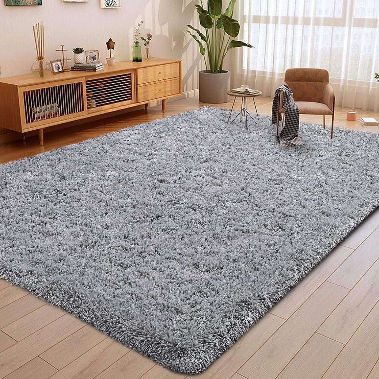ULTRUG Fluffy Area Rugs for Bedroom, Soft Shaggy Rug for Living Room, Nursery Indoor Rugs Plush Floor Carpet Non-Slip Furry Play Mat for Kids Girls Room Modern Home Decor, 5.3 x 7.5 Feet Grey