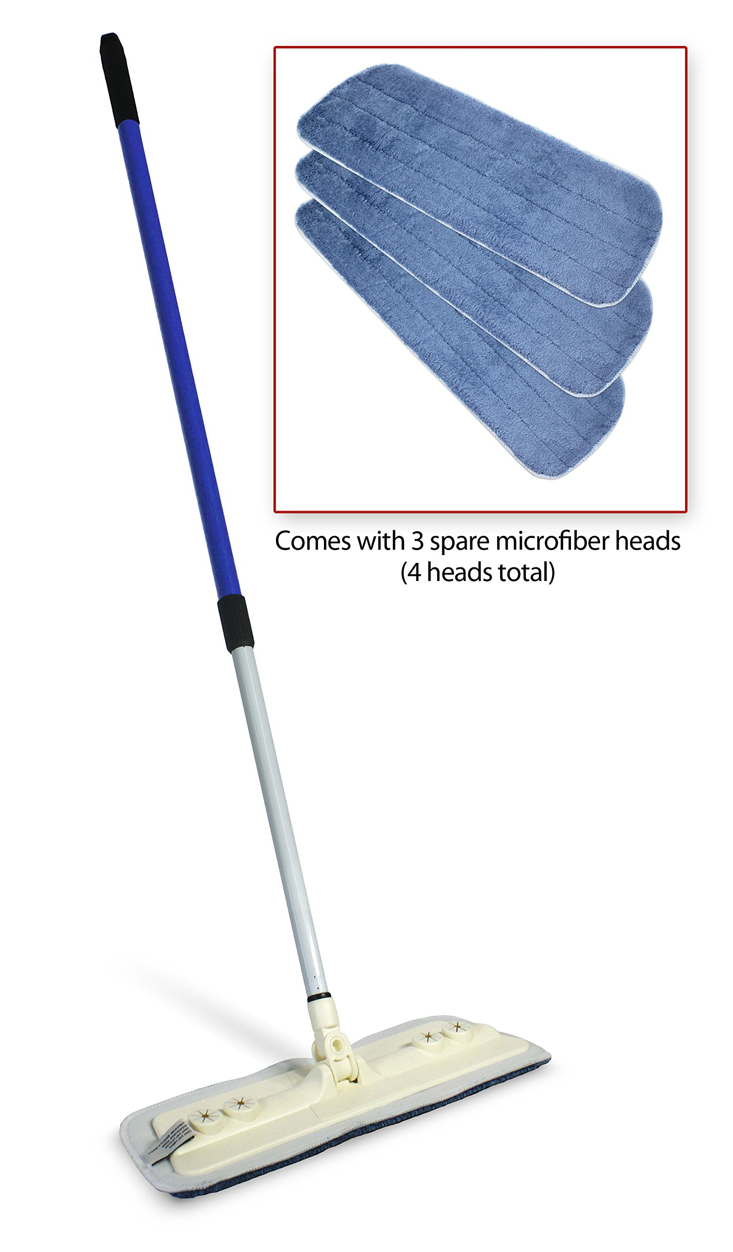 Home Solutions Microfiber Mop - 3x Replacement Heads - Reach Anywhere Reusable Washable Wet/Dry Mop