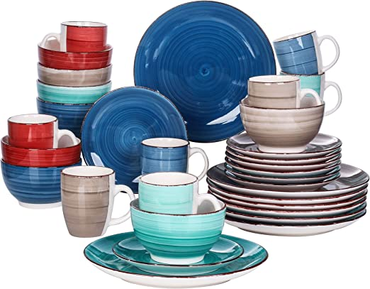 Vancasso Navia Oceano 8 Pieces Dinner Plate Stoneware Vintage Look Ceramic Aqua Blue Crockery Nature 10.5 inch Dinner Plate Set Dinner//Salad//Fruit//Snack Plate.