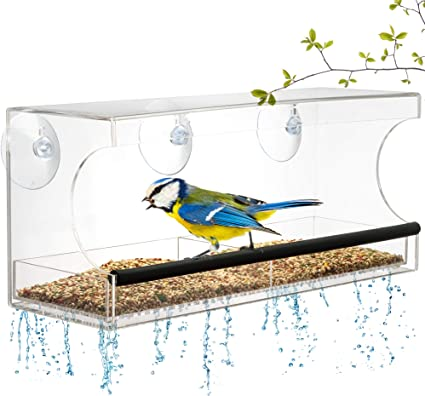 Window Bird Feeder Extra Strong Suction Cups Removable Seed Tray With Drainage Holes To Keep Seeds Dry 3 Extra Suction Cups Acrylic Clear Design To Enjoy Bird Watching In The