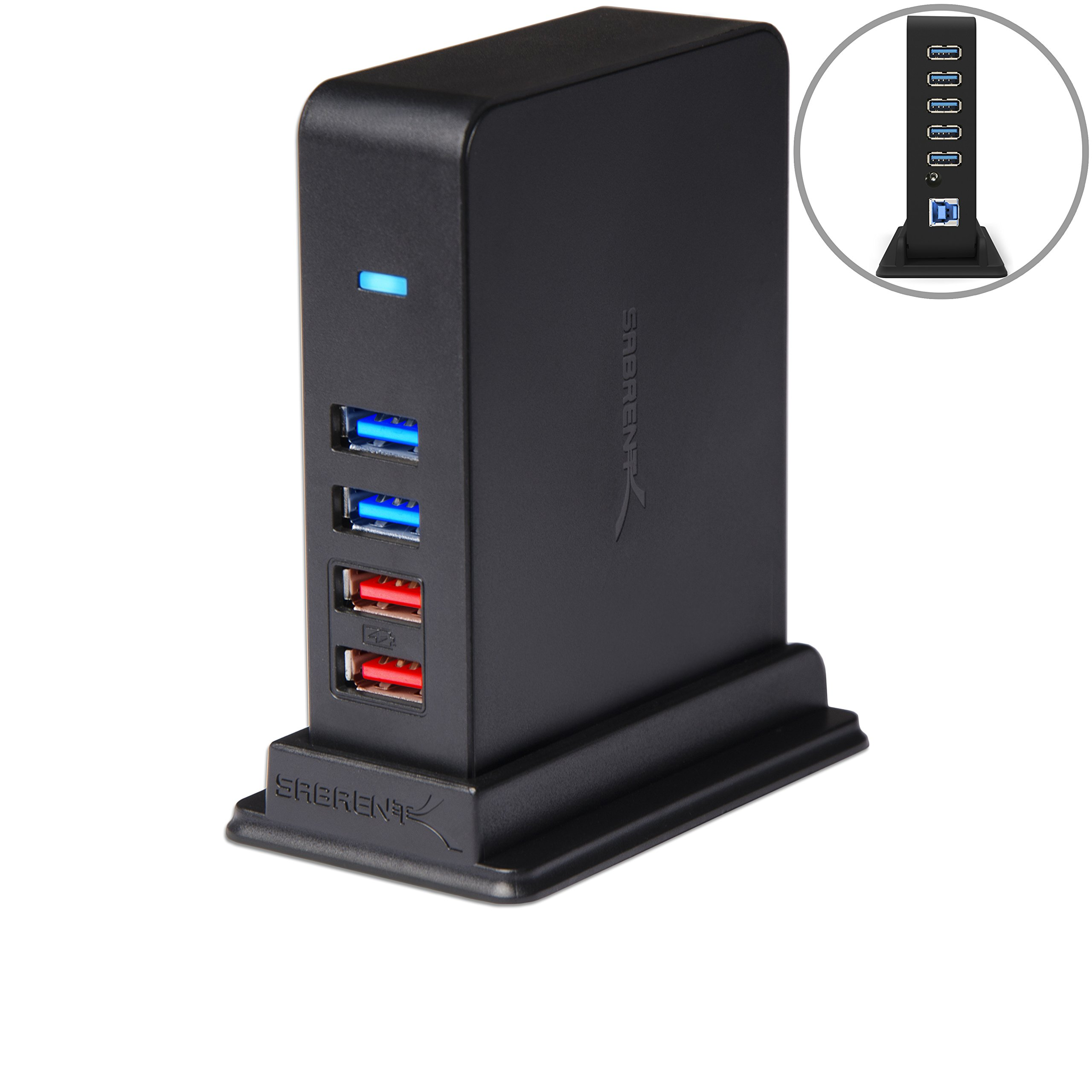 Sabrent 7 Port USB 3.0 HUB + 2 Charging Ports with 12V/4A Power Adapter [Black] (HB-U930) by Sabrent