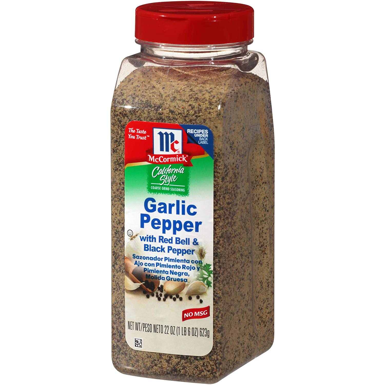 McCormick California Style Garlic Pepper with Red Bell & Black Pepper Coarse Grind Seasoning, 22 Ounce