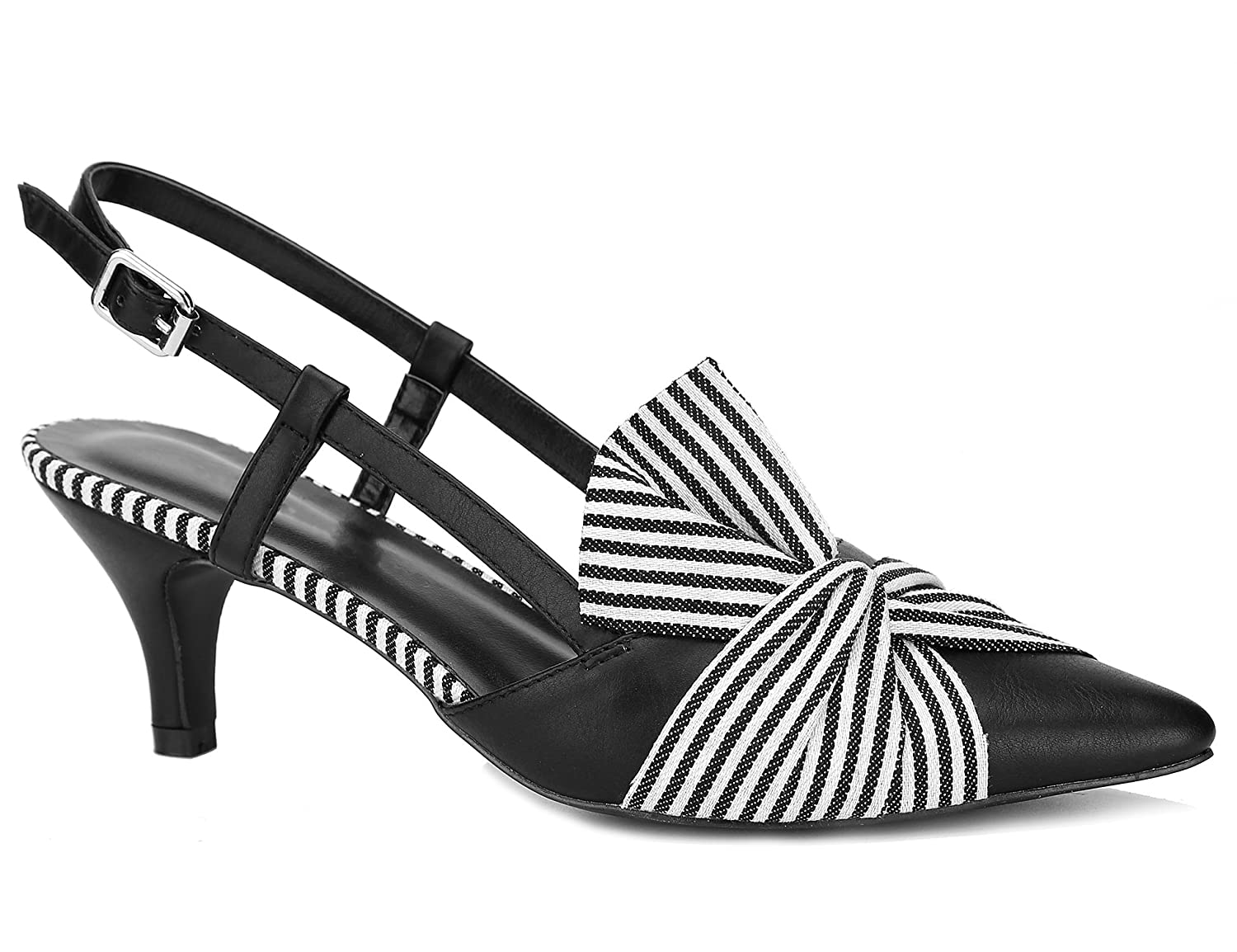 Black With Stripe Bow Tie Greatonu Womens Slingback Kitten Dress Pump