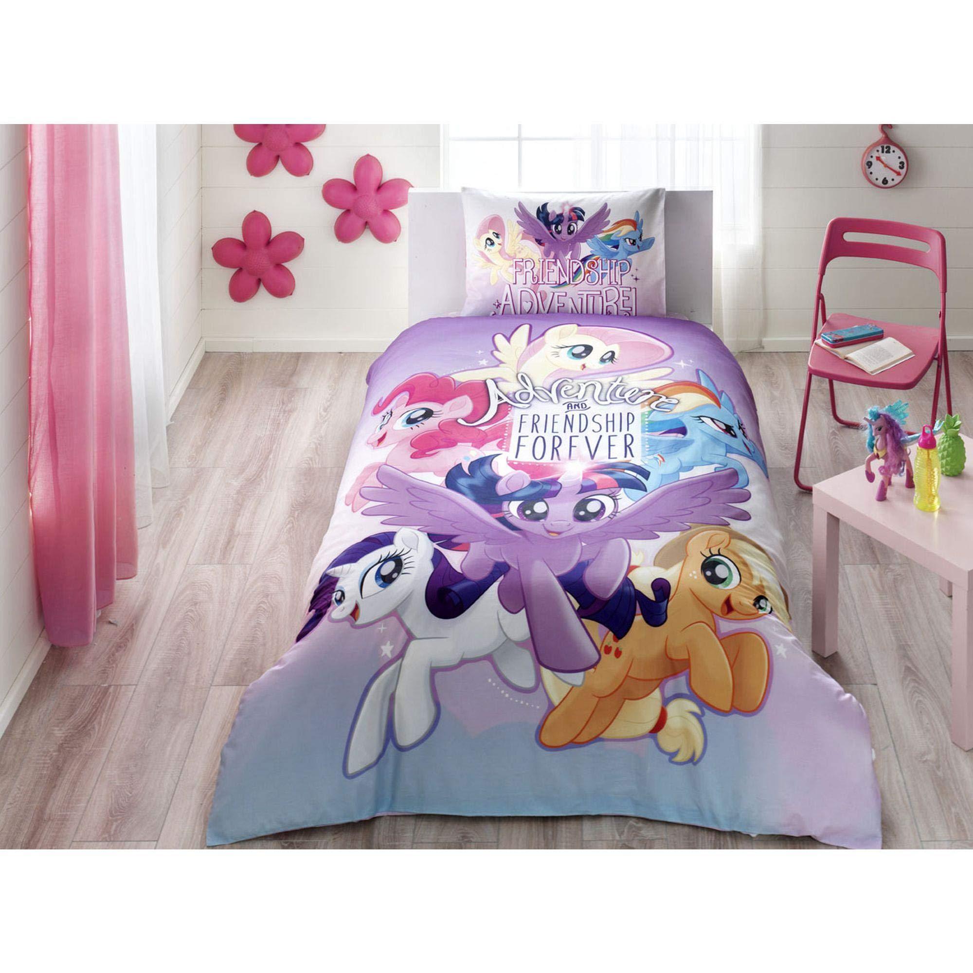 Single Twin Kids Original My Little Pony Adventure Movie 100% Cotton Duvet/Quilt Cover Set, Bedding Set 3 Pcs