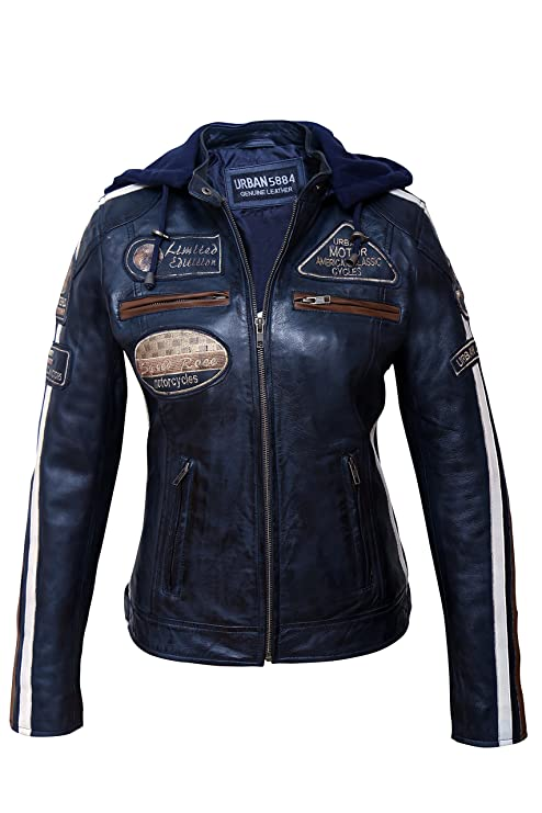 Urban Leather 58 Leren Bikerjack, Chaqueta de Moto para Mujer, Azul (Navy Blue), 38 M