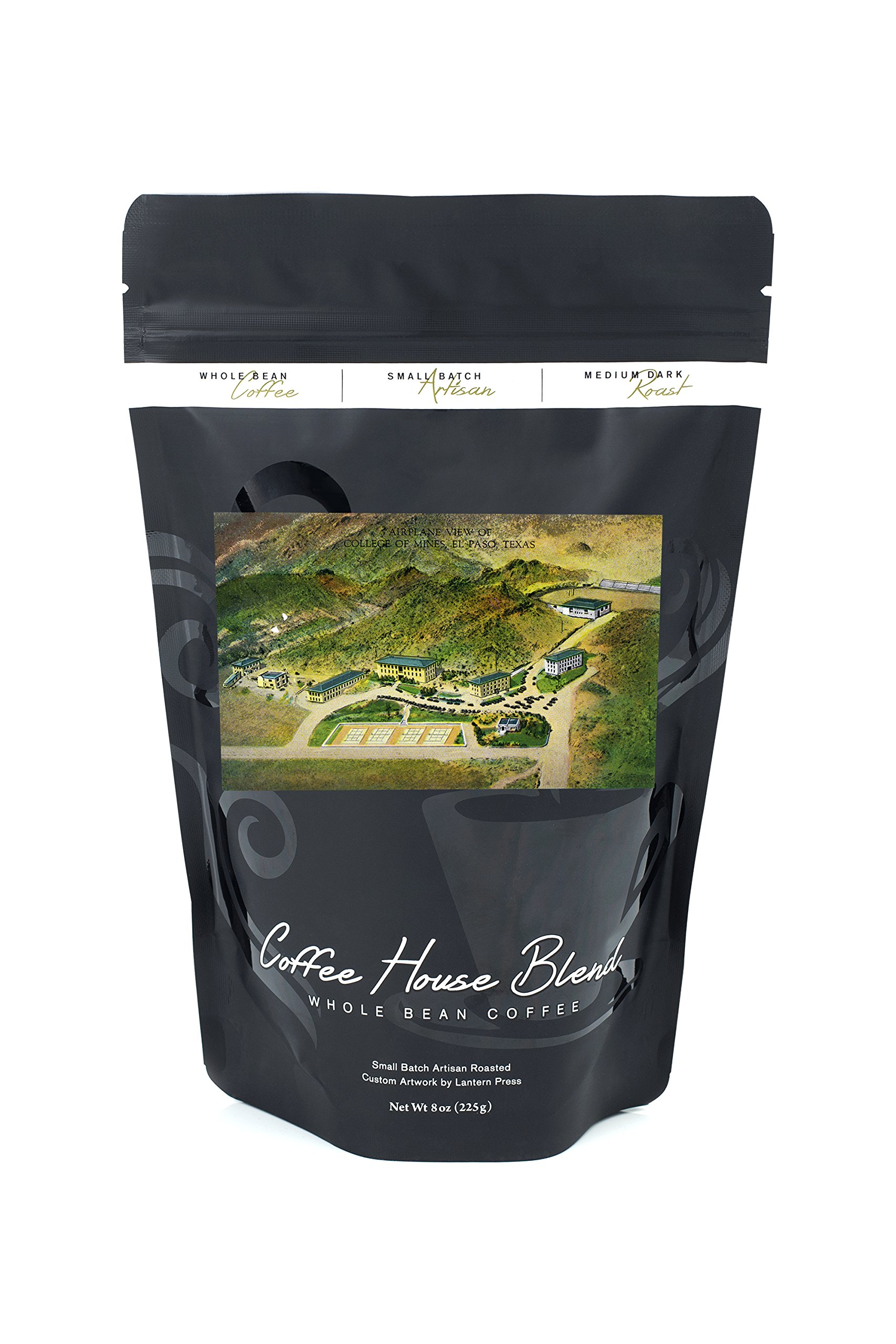 El Paso, Texas - Aerial View of the College of Mines (8oz Whole Bean Small Batch Artisan Coffee - Bold & Strong Medium Dark Roast w/Artwork)
