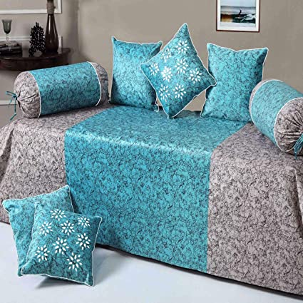 Gurnoor Premium Velvet Diwan Set of 8pc Grey-Blue(1 Bedsheet with 2 Blosters and 5 Cushion Covers)�
