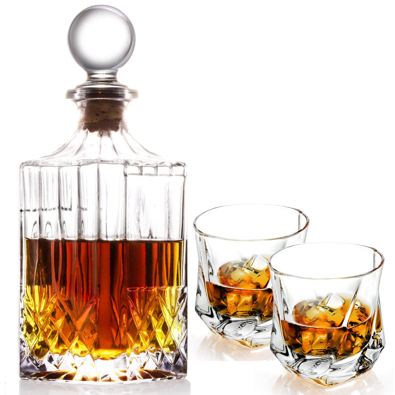 Lovinpro Crafted Whiskey Decanter Set - Elegant Whiskey Glass Set with Ornate Stopper and 2 Piece of Twist Whiskey Glasses by Lovinpro