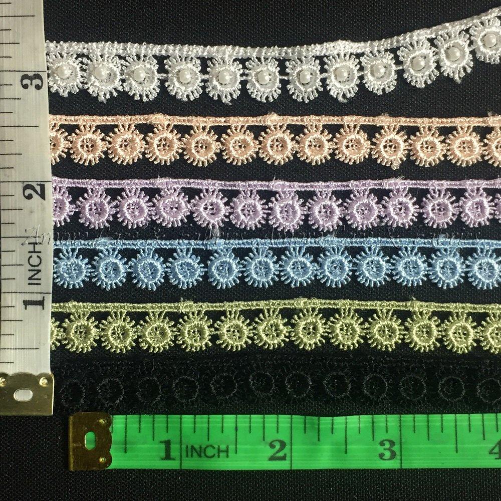 Garments Bridals Decorations Crafts Costumes Scrapbooks Multi-Use ex Choose Color Trim Lace Floral 1//2 Wide Fine Eyelash Circles Venise Sage 5 Yards
