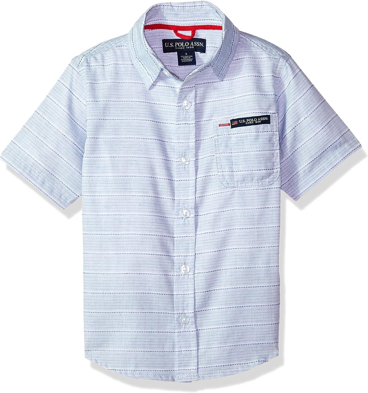 POLO ASSN U.S Boys Short Sleeve Striped Textured Woven Shirt